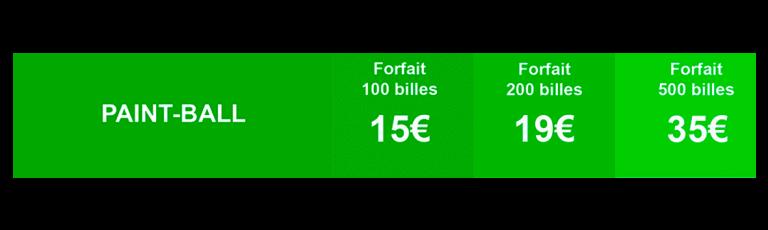 Tableau tarifs formule Paintball du mas de l'ayre