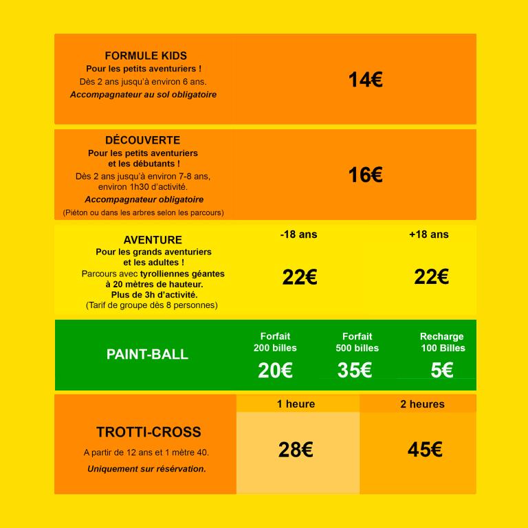 Tableau tarifs accro parc mas de l'ayre