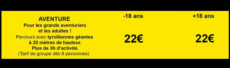 Tableau tarifs Formule aventure