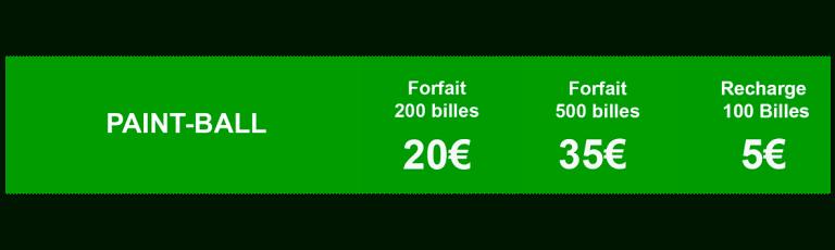 Tableau tarifs Formule paintball